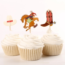 24 pcs The Cowboy Cupcake Toppers Cake Party Decorations Festive Holiday Event And Kids Birthday Party Favors Supply