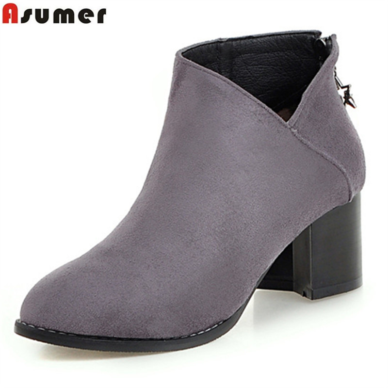 Asumer hot sale new arrive women boots black gray zipper flock autumn winter ankle boots square heel comfortable ladies boots<br>