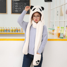 2017 Fashion Woman Man Cute Panda Ear Hats +Scarf+Gloves 3in 1 Winter Warm Set Thick Velvet Soft Confortable Creative Scarf Caps(China)