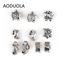 10 Pcs Mix [ Hawaii Ocean Series ] Antique Silver Plated Alloy Big Hole Bead DIY Spacer Charm Fit For Pandora Charms Bracelet