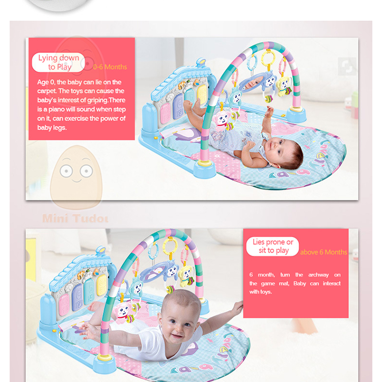 MiniTudou Baby Activity Play Mat Baby Gym Educational Fitness Frame Multi-bracket Baby Toys 0-12 Months Game Mats For Kids 6