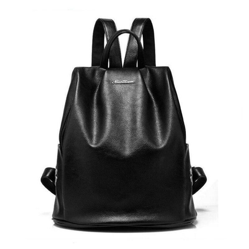 2017 Design Backpack Genuine Leather Women Backpacks For Teenage Girls School Bags Black Summer Brand Vintage Backpack Mochilas <br>