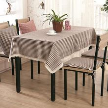 Tablecloth Plaid Brown Pink Table Cover Lace Edge Dining Cotton Linen Table Cloth(China)