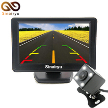 "Sinairyu 2IN1 Parking System 4.3"" Car Rear View LCD Monitor with Backup Reversing Camera Three Designs of Cameras for Selection"