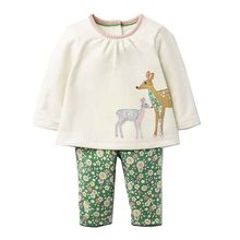 Baby Girls Clothing Sets with Animal Appliques 2017 Brand Autumn Kids Clothes Girls Outfit Robe Fille Children Set Tracksuit(China)