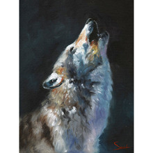 Hand-painted wolf oil painting howling wolf impressionist painting wolf artwork decor wolf  Canvas Painting Living room decor