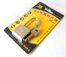 Free shipping BOSI 30mm long shank brass padlock master lock with 4pc keys