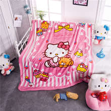 Vivid Pink Color Hello Kitty Prints Blankets Throw Girls Baby Home Bedding Cartoon Polyester Coral Fleece Fabric Twin Queen Size