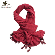 Marte&Joven Lightweight Fashion Plaid Pattern Women Scarf with Beads Tassel Elegant Ladies Spring/Summer Red Hijab Shawls Sjal(China)