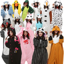 Adults Kigurumi Halloween Costumes Onesie Pajamas Wolf Seal Jack Skellington Unicorn Gloomy Olaf Monkey Fox Duck Chi Cat Kitty(China)