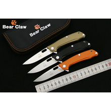 Bear claw 2017 New Product 9cr14 blade G10+steel Handle Outdoor folding knife camping hunting pocket fruit knives EDC tool Survi(China)