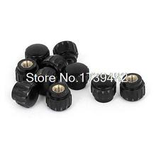 M5 x 15mm Female Thread Plastic Knurled Head Clamping Knob Jig Black 10pcs