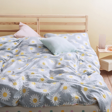 sunflowers print 3pc/4pc kids bedding set(duvet cover+flat sheet or fitted sheet+pillowcase)king queen twin(China)