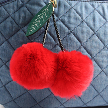 Rabbit Fur Ball Keychain Pom Pom Fluffy Key Chains Pompom Car Keyring Women Bag Pendant porte clef pompom de fourrure PWK0390
