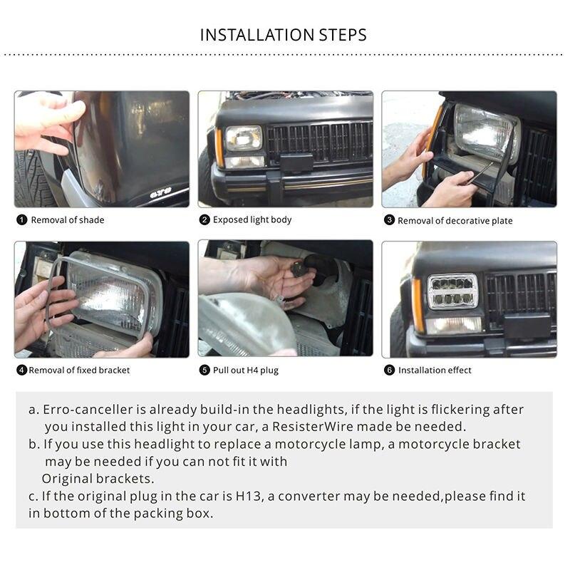 6 Square LED Headlights 7x6 5x7 Chrome Refector Sealed Beam Replacement Headbulb for Wrangler TJ XJ YJ Cherokee xj trucks 4x4