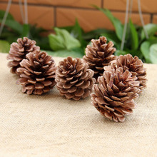 10pcs/Set Christmas Tree Hanging Pine Cones S/M Size Wood Pinecone Balls For Home Office Party Decoration Ornament
