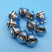 10Pcs Metal High Round 16mm Momentary Push Button Switch 1NO Screw Terminals