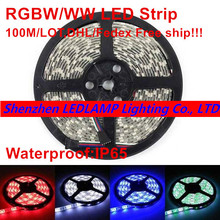 IP65 Waterproof 100M 5M/Roll RGBW RGBWW SMD 5050 LED strip Light DC12V LED Flexible Bar Tape Light strips RGB + White/WW light