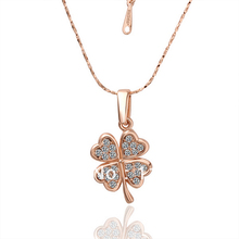 LN001 Fasion  Rose Gold Color Items Crystal Pave Four Leaf Clover Pendant Necklace Women Jewelry Christmas Gift Accessories