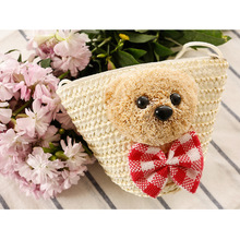 2017 Kid's Cute Bear Pattern Change Money Bag Mini Straw Tote Bag Woven Crossbody Beach Shoulder Bag Mini Coin Purse