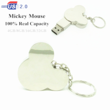 metal mickey mouse head usb flash drive disk memory stick mini computer gift 4gb 8gb 16gb pendrive 32gb Pen drive keychain