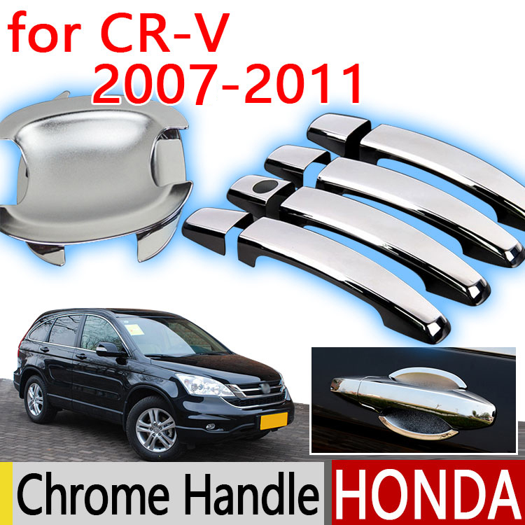 For Honda CRV 2007-2011 Chrome Door Handle Covers Trim Set of 4P Never Rust 2008 2009 2010 Car Accessories Stickers Car Styling(China)