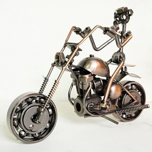 Robot Riding Motorcycle Model Racing Cars Iron Metal Crafts Ornaments(China)
