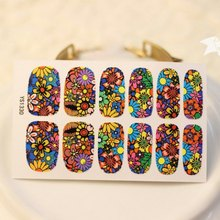 One Piece Vintage Mixed Floral Print Nail Art Nail Sticker loral Leopard Print Nail Sticks Decals Water Transfer YJ1569501