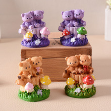 Mini Resin Double Bear Doll Garden Miniatures Desktop Decor Crafts Home Accessories Resin Crafts Handicraft Furnishing Articles(China)
