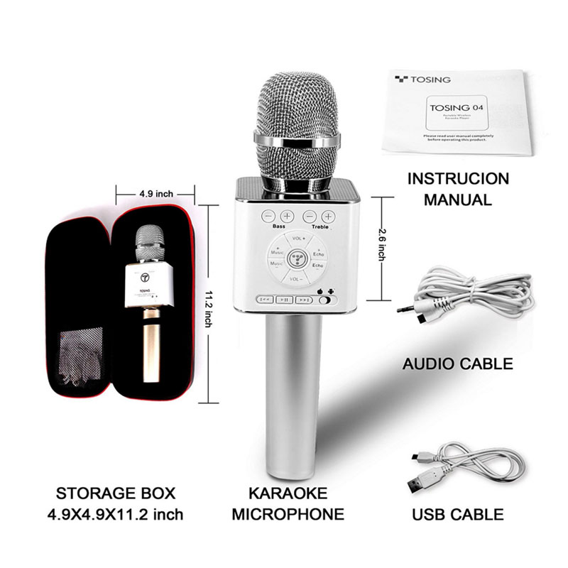 Original Brand Tosing Q9 04 wireless Karaoke Microphone Bluetooth Speaker 2-in-1 Handheld Sing & Recording Portable KTV Player-6