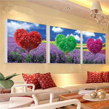 Free shipping 3 panel Heart tree Painting Printed Painting Picture Home Decor Canvas Art dining room decoration GA0194