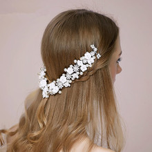 2017 Fashion Hair Combs Wedding Bridal Prom Party Crystal Pearl White Flower Headbands For Girl Women Long Hair Hair Accessories