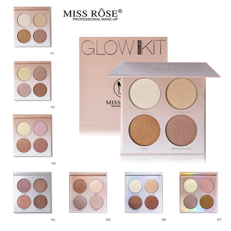 Miss Rose Professional Makeup Face Contour Set 4 Color Powder Highlighter Palette Highlight Golden Bronzer Make Up Glow Kit(China)