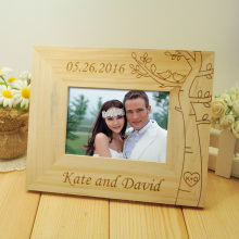 Personalized Wedding photo frame, Wooden Wedding Couple Pictures Frames, Rustic Frame, Home Decor, Wedding Gift, 5 inch photo(China)