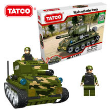 TATCO 204pcs Military Army Tank Block Build Model Set DIY Connection Self-Locking  Bricks For Babies Kids Classic Game For Boys