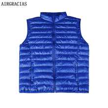 AIRGRACIAS 2017 New Men's Vest Warm Ultralight Down Jackets Vests Men Solid Thin Winter Vest Male Lightweight Coats MJ001