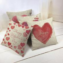 Happy Valentine's Day Decoration Linen Pillow Cover for Couple Red Heart Arrow Shape I LOVE YOU Cushion Cover Home Sofa Car