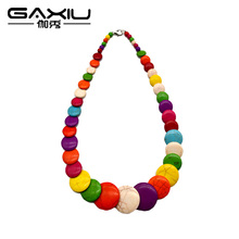 New Colorful Round Necklace Island Style Stone Necklace Wholesale Handmade Fashion Long Jewelry For Women And Girls(China)