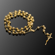 Long Golden Beads Strand Chain Necklace Jesus Christ Cross Charm Pendant Necklace For Religion Priest Costume Jewelry Wholesale(China)