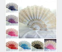 Beautiful peacock lace fan spanish plastic folding fan Ladies dance fan colorful Wedding gift(China)