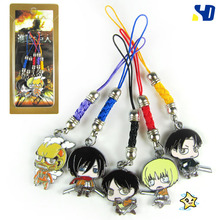 Attack on Titan Eren Mikasa Rivaille Cell Phone Strap Metal Pendants Free Shipping Japanese Anime Cartoon