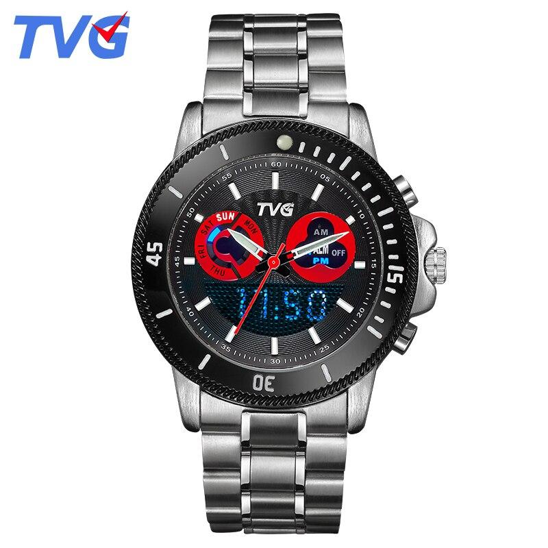 Male watches luxury Brand TVG Sports Wrist watch For Men Stainless Steel waterproof Dual Time Analog Digital display relojes<br><br>Aliexpress