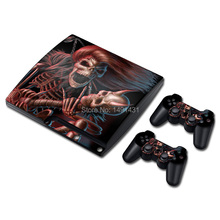 Vinyl For PS3 Skin Sticker Cover For Playstation 3 Slim Console + Controller Decal Skull