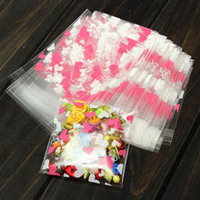100 Pcs Mini Pink Heart Packaging Bag Clear Cellophane Cookie Sweet Package Wedding Birthday Candy Party For Gusset  7cm*7cm+3cm