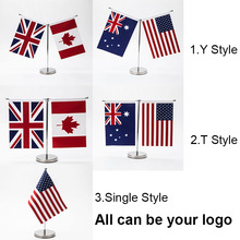 Table flag with stainless steel standard Austrilia U.S.A 14*21CM High Quality  Your logo are welcome