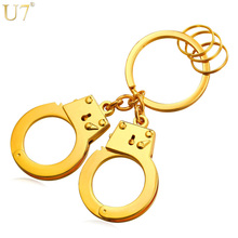 U7 Key Holder Double Handcuffs Metal Key Ring For Men Jewelry Wholesale Gold Color Keyring Car Keychain With Box K010(China)