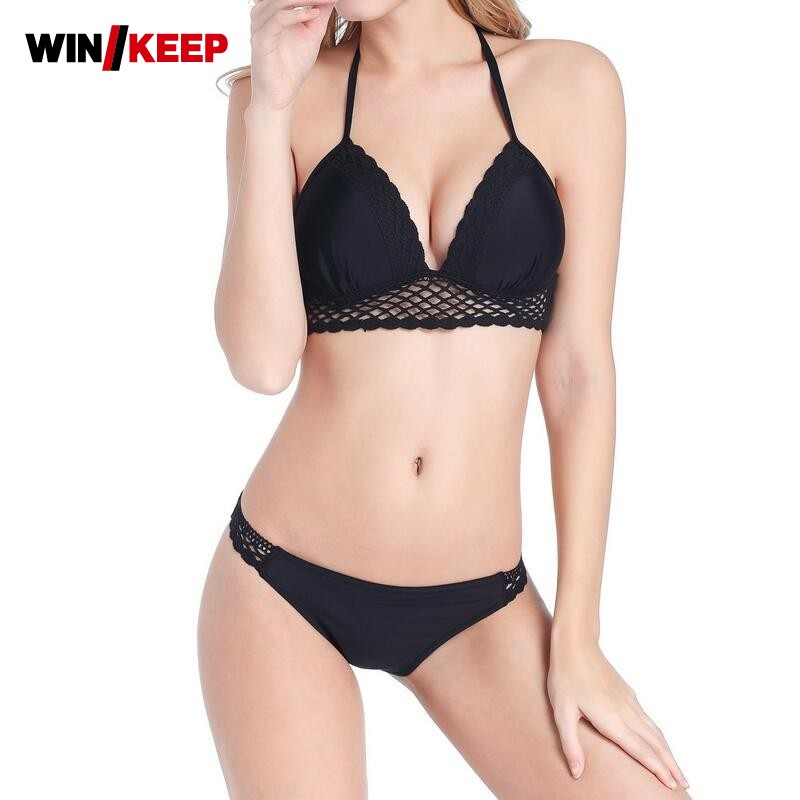 2018 Summer New Arrival Bikinis Sets Swimsuit For Women Push Up Low Waist Halter Sexy Beach Wear Bathing Lace Patchwork Biquini <br>