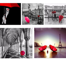 5D Full Square DIY Diamond Painting Red Umbrella Black White Background Cross Stitch Diamonds Embroidery Mosaic Home Decoration
