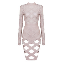 Ship immediately!OCS Exclusive Women's New Fashion 2016 Nude Long Sleeve Bandage and Mesh Sexy See Through Dress with Shorties