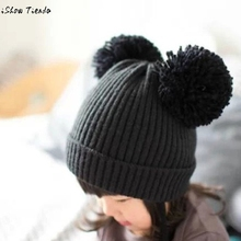Winter Hats For Kids Cute Baby Dual Hairball Warm Woolen Caps Baby Helmet Gorro Infantil(China)